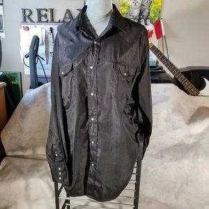 Roper Black Button-Down w/ Pockets & Pearl Snaps